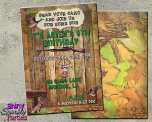 Printable Camo Hunting Birthday Invitation (Digital File Only)-Digital Download, Printable File-Forever Fab Boutique