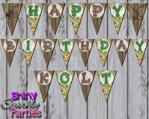 Printable Camo Hunting Birthday Party Banner (Digital Files Only)-Digital Download-Forever Fab Boutique