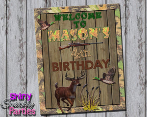 Printable Camo Hunting Birthday Party Sign (Digital File Only)-Digital Download-Forever Fab Boutique