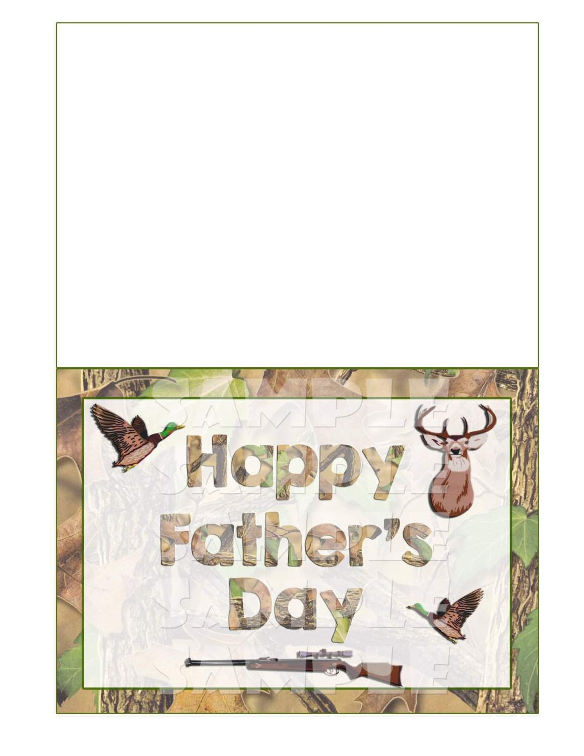 picture about Fathers Day Card Printable titled Camo On the lookout Themed Fathers Working day Card