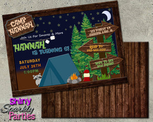 Printable Camping Birthday Invitation (Digital File Only)-Digital Download-Forever Fab Boutique