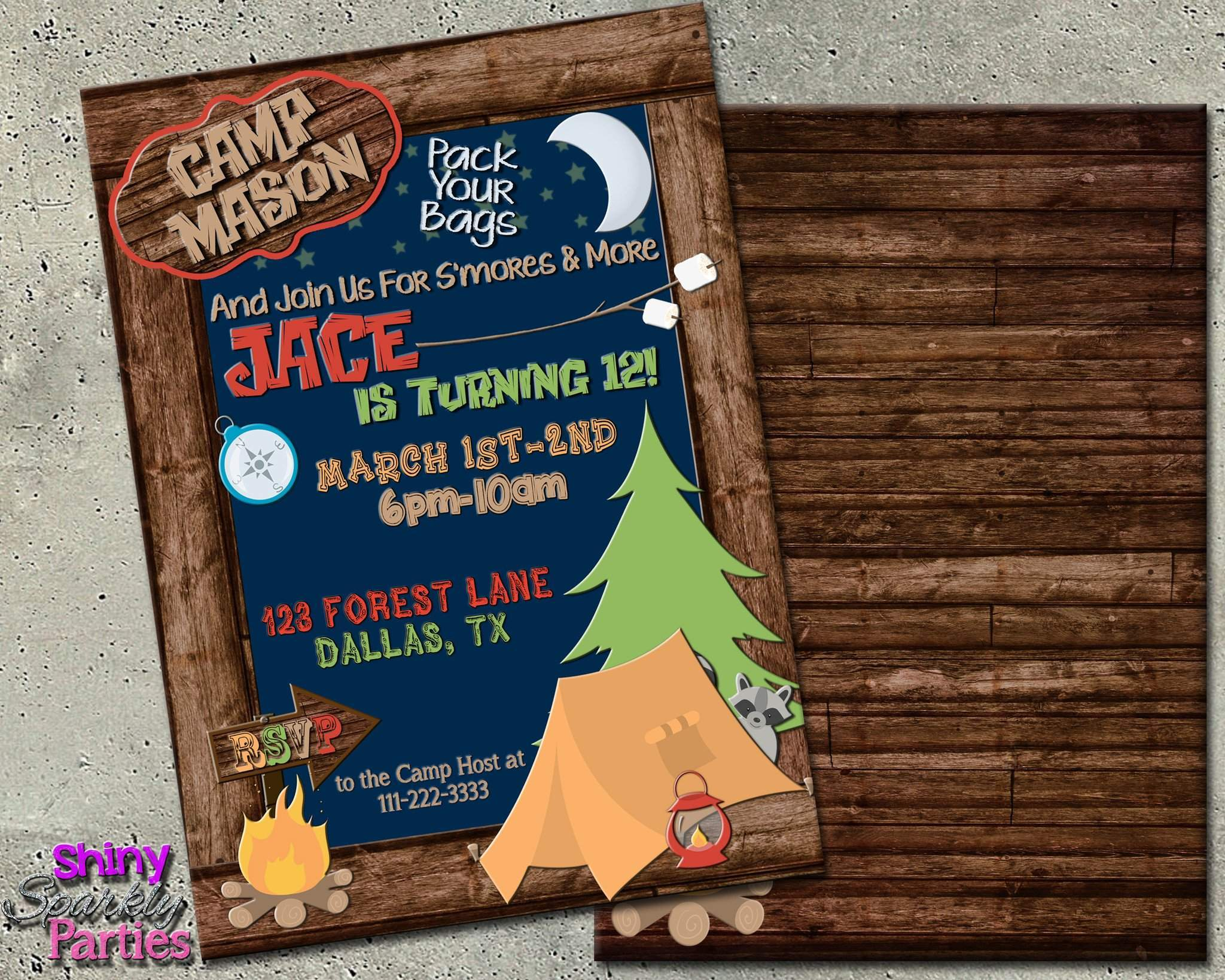 Camping Birthday Party Invitation Forever Fab Boutique