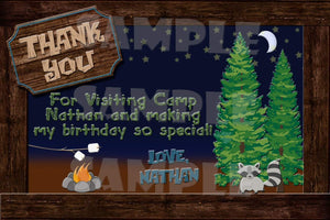 Printable Camping Birthday Thank You Card Digital File Only-Digital Download-Forever Fab Boutique