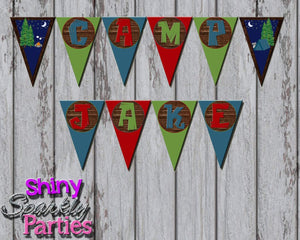 Printable Camping Party Banner (Digital File Only)-Digital Download-Forever Fab Boutique