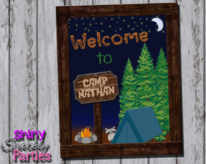 Printable Camping Party Sign (Digital File Only)-Digital Download-Forever Fab Boutique