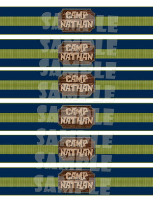 Printable Camping Water Bottle Labels (Digital File Only)-Digital Download-Forever Fab Boutique