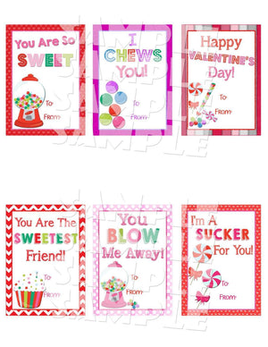 Printable Candy Themed Valentine Cards (Digital File Only)-Forever Fab Boutique