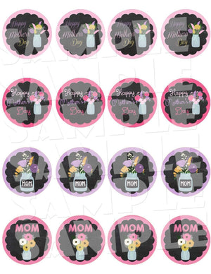 Printable Chalkboard Mother's Day Cupcake Toppers (Digital File Only)-Printable File,Digital Download-Forever Fab Boutique