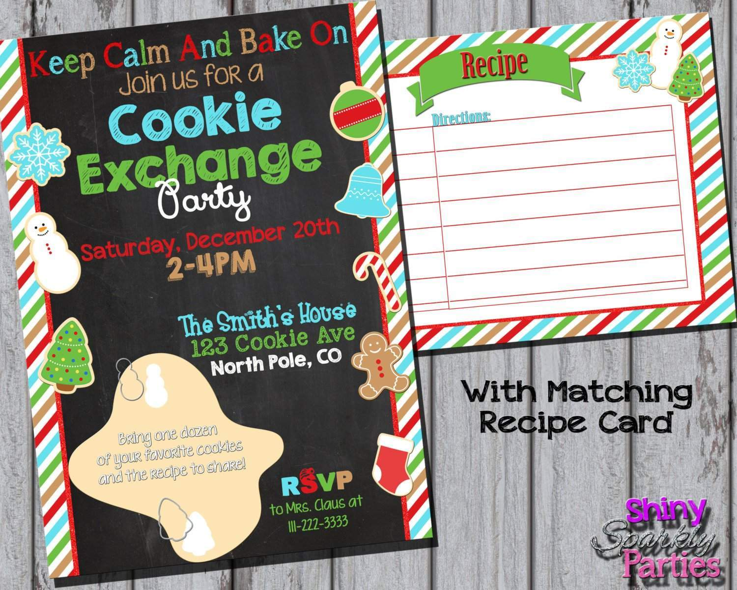 Christmas Cookie Exchange Party Invitation - Forever Fab Boutique