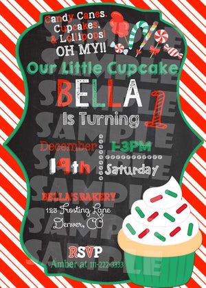 Printable Christmas Cupcake Birthday Invitation (Digital File Only)-Digital Download-Forever Fab Boutique