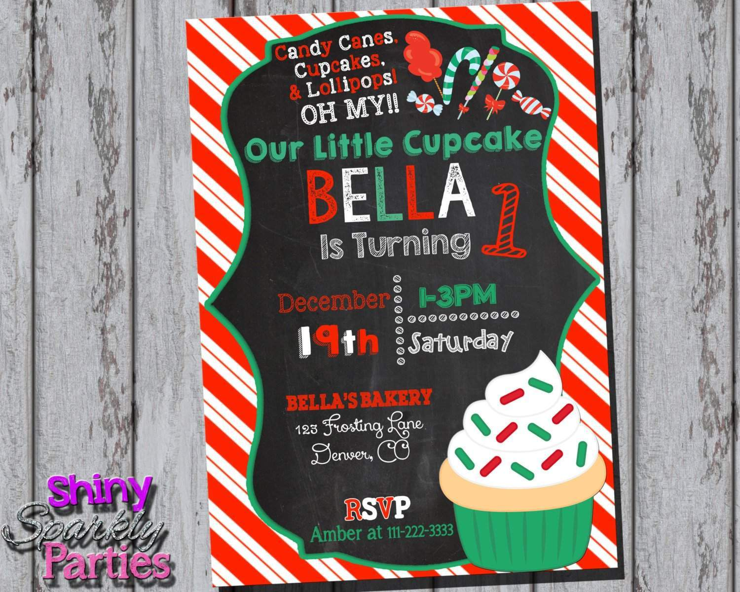 Christmas Cupcake Birthday Invitation Forever Fab Boutique