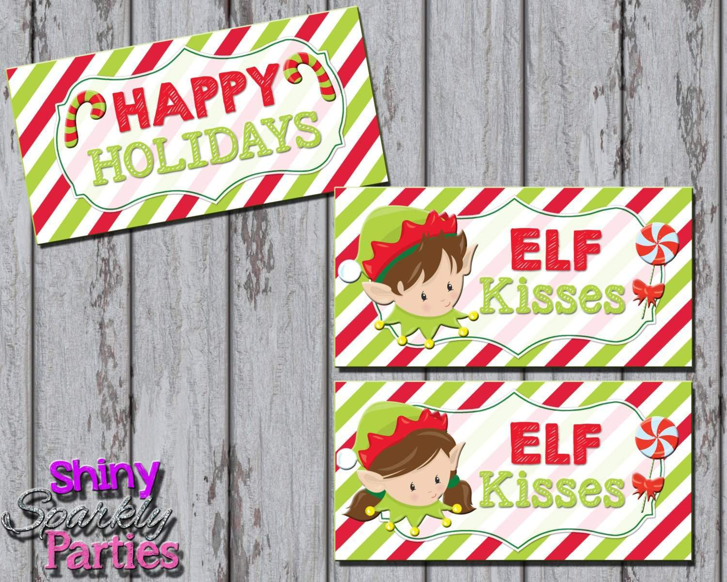 picture regarding Elf Kisses Printable named Xmas Elf Kisses Deal with Bag Toppers