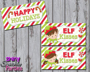 Printable Christmas Elf Kisses Treat Bag Toppers (Digital File Only)-Forever Fab Boutique