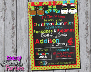 Printable Christmas Pancakes And Pajamas Birthday Party Invitation (Digital File Only)-Digital Download-Forever Fab Boutique