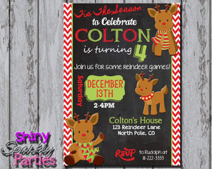 Printable Christmas Reindeer Birthday Invitation (Digital File Only)-Digital Download-Forever Fab Boutique