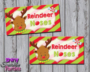Printable Christmas Reindeer Noses Treat Bag Toppers (Digital File Only)-Digital Download,Instant Download,Printable File-Forever Fab Boutique