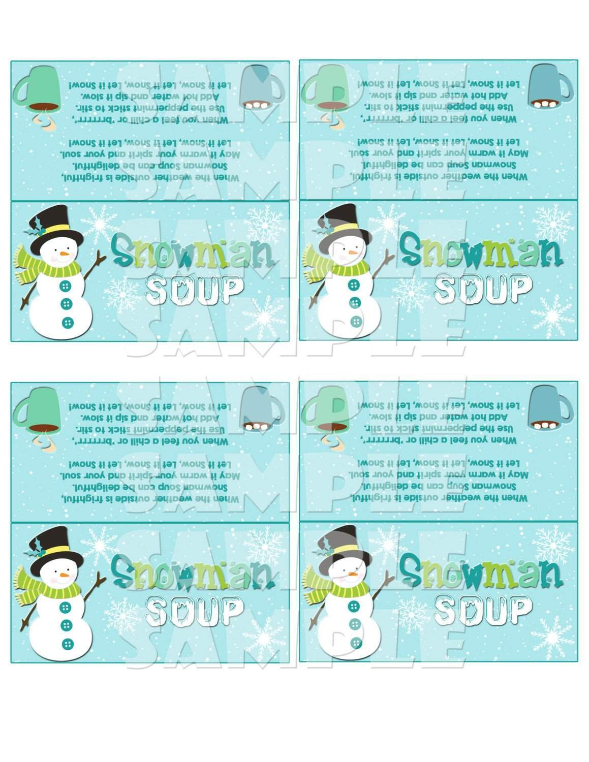 graphic about Snowman Soup Printable known as Xmas Snowman Soup Handle Bag Toppers
