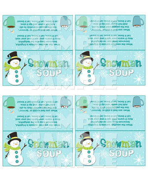 Printable Christmas Snowman Soup Treat Bag Toppers (Digital File Only)-Forever Fab Boutique