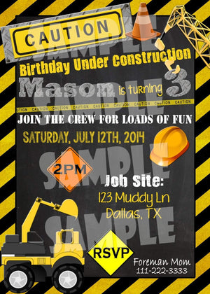 Printable Construction Birthday Invitation (Digital File Only)-Digital Download-Forever Fab Boutique