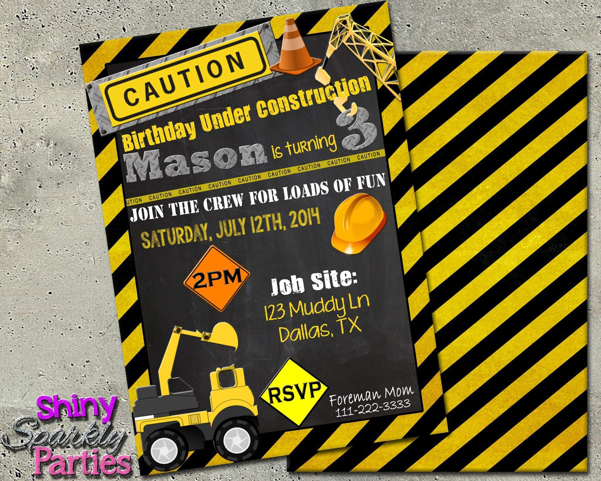 Construction Birthday Invitation 2 Forever Fab Boutique