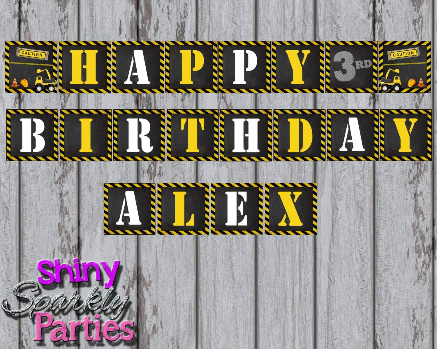 Printable Construction Birthday Party Banner Digital Files Only Download Forever Fab