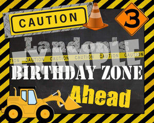 Printable Construction Birthday Party Sign (Digital File Only)-Digital Download-Forever Fab Boutique