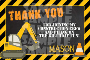 Printable Construction Birthday Thank You Card (Digital File Only)-Digital Download-Forever Fab Boutique