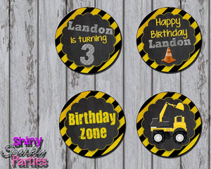 Printable Construction Cupcake Toppers (Digital File Only)-Digital Download-Forever Fab Boutique