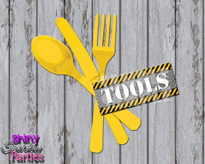 Printable Construction Silverware Tool Tags (Digital File Only)-Digital Download,Printable File-Forever Fab Boutique