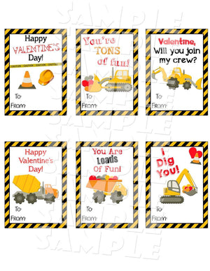Printable Construction Valentine Cards (Digital File Only)-Forever Fab Boutique