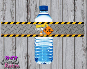 Printable Construction Water Bottle Labels (Digital File Only)-Digital Download,Printable File-Forever Fab Boutique