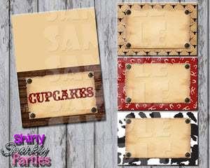 Printable Cowboy Western Food Tent Signs Editable (Digital File Only)-Digital Download,Printable File-Forever Fab Boutique