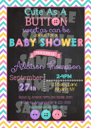 Printable Cute As A Button Baby Shower Invitation (Digital File Only)-Digital Download-Forever Fab Boutique