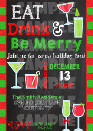 Printable Eat Drink And Be Merry Christmas Party Invitation (Digital File Only)-Digital Download-Forever Fab Boutique