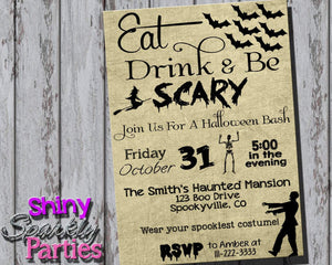 Printable Eat Drink And Be Scary Halloween Party Invitation (Digital File Only)-Digital Download-Forever Fab Boutique