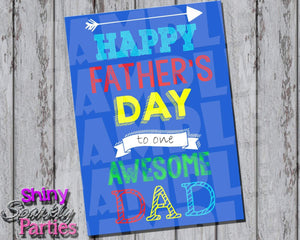 Printable Father's Day Card (Digital-Digital Download,Instant Download,Printable File-Forever Fab Boutique