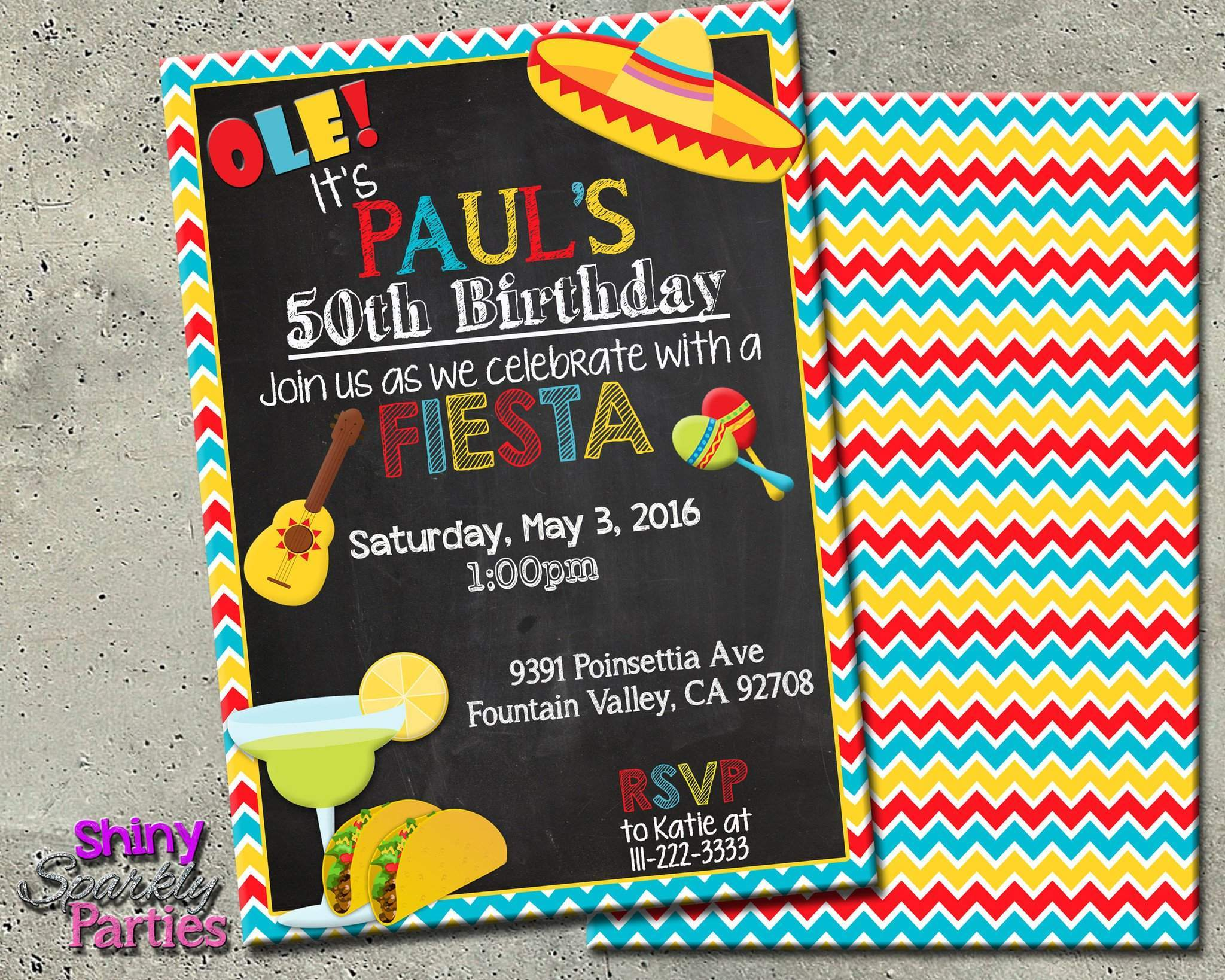 Fiesta Birthday Party Invitation Forever Fab Boutique