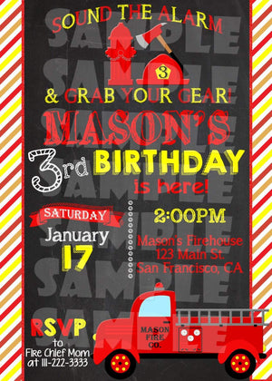 Printable Firetruck Birthday Invitation (Digital File Only)-Digital Download-Forever Fab Boutique