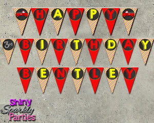 Printable Firetruck Birthday Party Banner (Digital Files Only)-Digital Download-Forever Fab Boutique