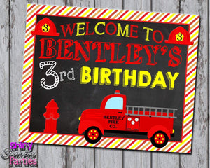 Printable Firetruck Birthday Party Sign (Digital File Only)-Digital Download,Printable File-Forever Fab Boutique