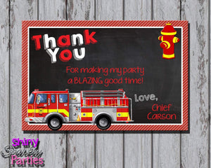 Printable Firetruck Birthday Thank You Card (Digital File Only)-Digital Download-Forever Fab Boutique