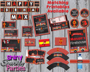 Printable Firetruck Candy Bar Wrappers (Digital File Only)-Digital Download-Forever Fab Boutique