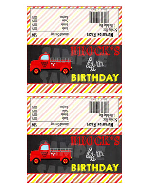 Printable Firetruck Candy Bar Wrappers (Digital File Only)-Digital Download, Printable File-Forever Fab Boutique