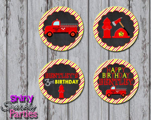 Printable Firetruck Cupcake Toppers (Digital File Only)-Digital Download,Printable File-Forever Fab Boutique