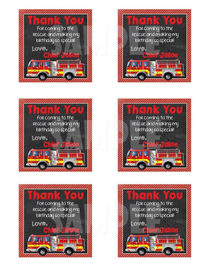 Printable Firetruck Party Favor Tags (Digital File Only)-Digital Download-Forever Fab Boutique