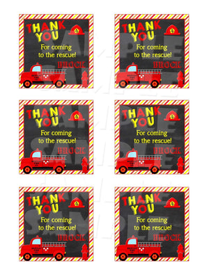Printable Firetruck Party Favor Tags (Digital File Only)-Digital Download,Printable File-Forever Fab Boutique