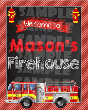 Printable Firetruck Party Sign (Digital File Only)-Digital Download-Forever Fab Boutique