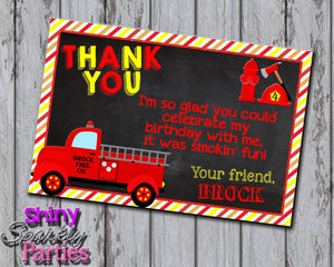 Printable Firetruck Thank You Card (Digital File Only)-Digital Download, Printable File-Forever Fab Boutique