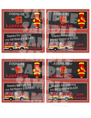 Printable Firetruck Treat Bag Toppers (Digital File Only)-Digital Download-Forever Fab Boutique