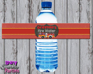 Printable Firetruck Water Bottle Labels (Digital File Only)-Digital Download-Forever Fab Boutique